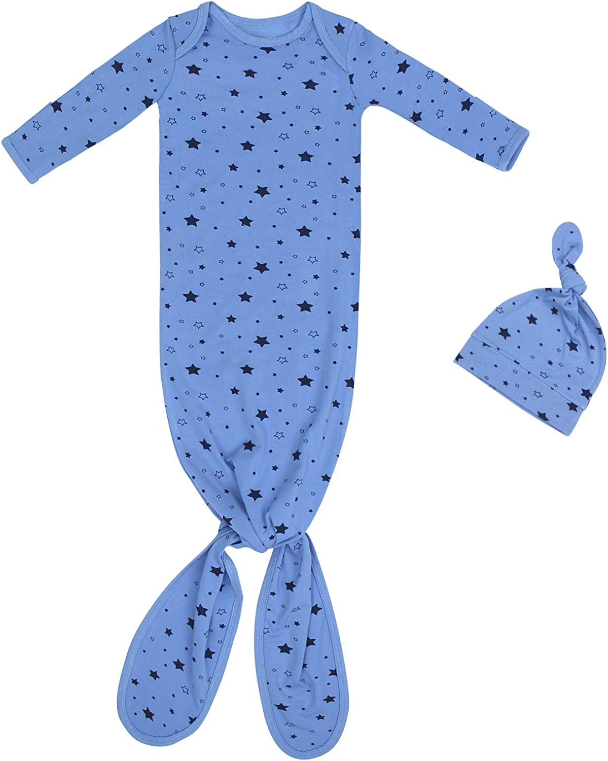 """TWINOR Newborn Girls Boys Knotted Gown """"Stars"""" Sleeping Bag Extra Soft Bamboo Coming Home Outfits"""