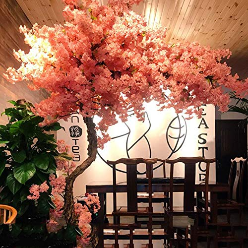 yong Dense Artificial Cherry Blossom Trees, Gorgeous Pink Fake Sakura Flower Indoor Outdoor Home Office, Silk and Plastic Flower (Height 1.2 m, extends 0.8 m)
