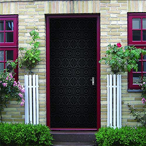 ZIJINJIAJU 3D Tür Wandbild Wallpaper Schwarz, abstrakt, Muster, geometrisch 80X200CM Abnehmbare selbstklebende Türwand, verwendet für Schlafzimmer, Haustür, Wohnzimmer, Büro, Wandaufkleber, Heimdekora