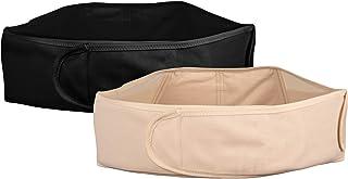 Deluxe graviditetssats bestående av 2 justerbara bebismagbälte med ryggstöd (hudfärg och svart) (S-XXL), presentset för gr...