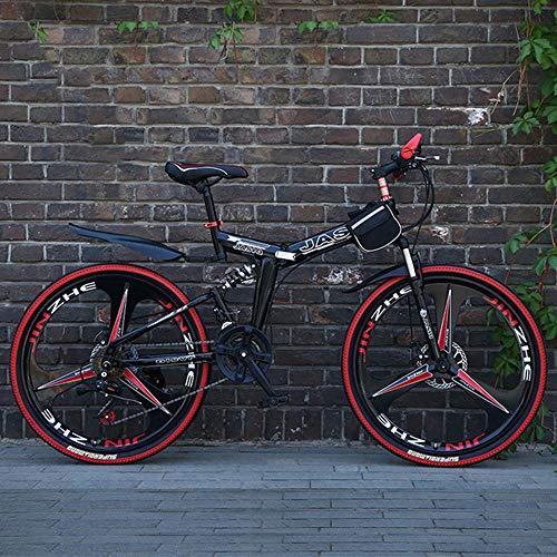 Bicicleta Montaña MTB Montaña de la bicicleta plegable 26 pulgadas marco de acero al carbono de suspensión hardtail Barranco de la bici completa y doble freno de disco, velocidad 21 Bicicleta de Monta