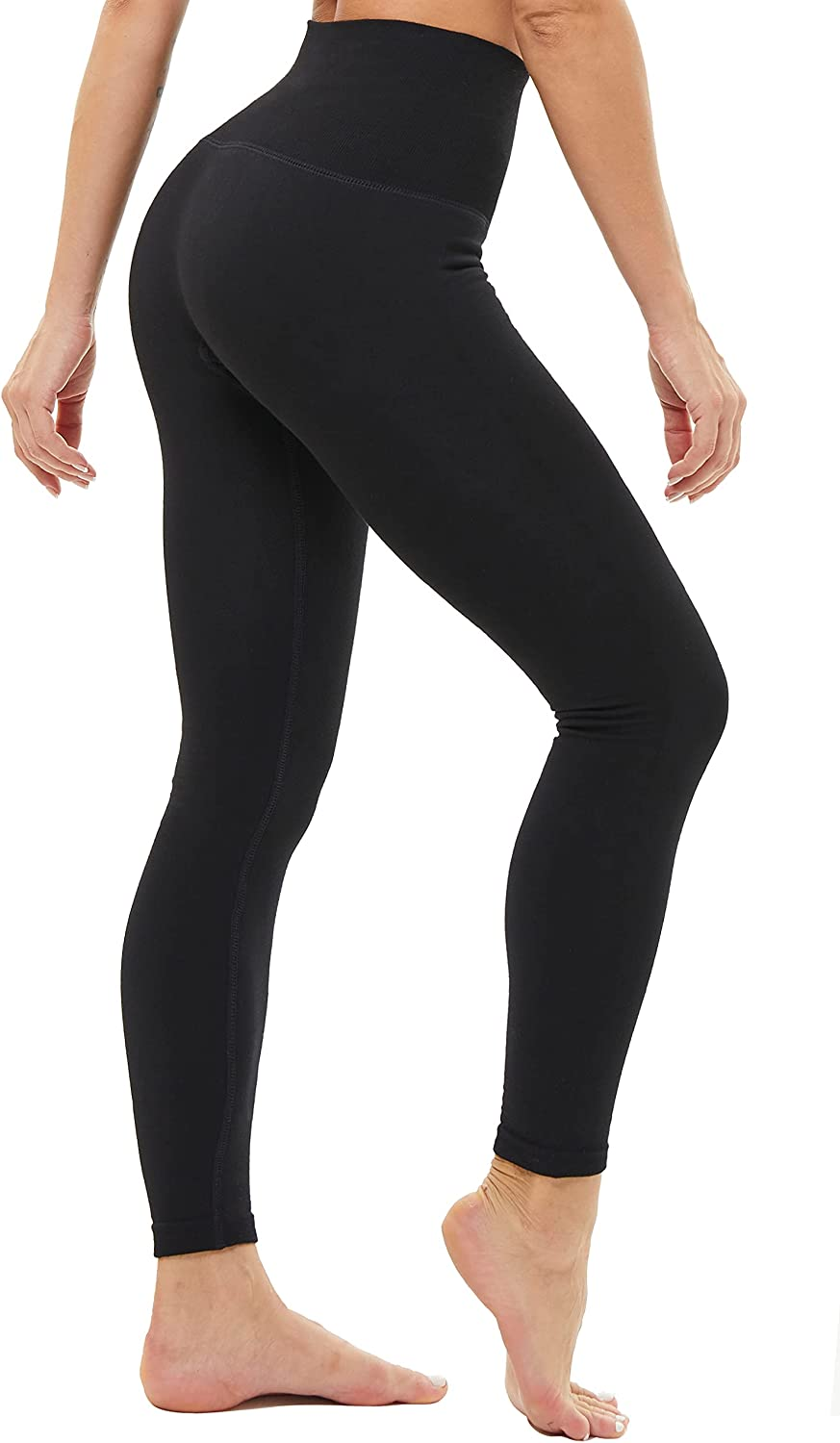 FLINXE Fleece Lined Tummy Control Leggings for Women High Waisted Thick Winter Warm Seamless Slimming Leggings