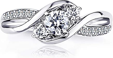 AndreAngel Wedding Ring Engagement Women White Gold Plated 18K 3 Microns Thickness Three Stones /...