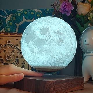 ZJING Lampe De Lune À LED, Lampes De Lune À Lévitation Magnétique Imprimées en 3D, Lampe De Lune À Gradation De 3 Couleurs...