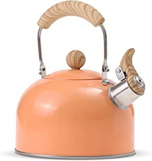 ROCKURWOK Tea Kettle, Stovetop Whistling Teapot, Stainless Steel, Orange, 2.43-Quart