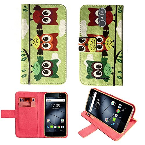 starz mobiles accessoires Gigaset GS160/GS170 - Hülle, Brieftasche Schutzhülle Case Hülle mit Kartenfächer (3 Owls)