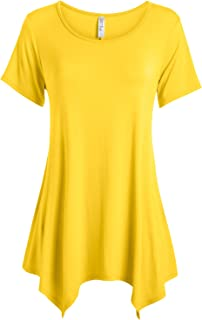 8b0c0c0f9eb Womens Basic Tunic Top Reg and Plus Size Short Sleeve Flowy Loose T Shirt -  USA