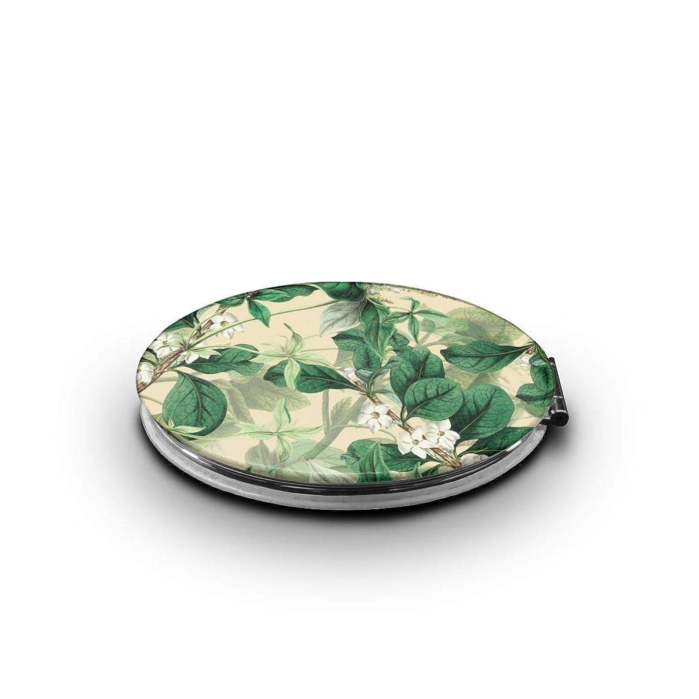 強調重荷減る化粧鏡 植物の葉 折りたたみ 自由 角度調整 180° 回転 女優ミラー 携帯用ミラー コンパクトコンパクト ミラー