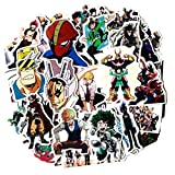My Hero Academia Stickers Waterproof Vinyl Decal Laptop Water Bottle Skateboard Guitar Travel Phone Case Door Luggage Car Bike Bicycle (50 pcs) Removable Not Repeat