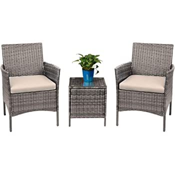 Amazon Com Devoko 3 Pieces Patio Furniture Sets Clearance Pe Rattan Wicker Chairs With Table Outdoor Garden Porch Furniture Sets Light Grey Garden Outdoor