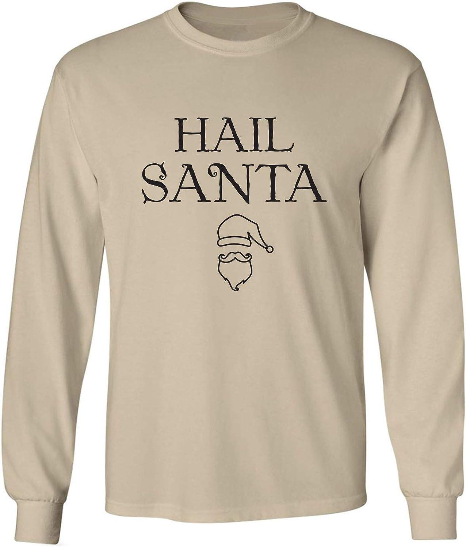 Hail Santa Adult Long Sleeve T-Shirt in Sand - XXXX-Large