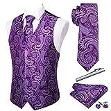 Barry.Wang Formal Men Dress Vest Matched Paisley Tie Set Suit Waistcoat Wedding 5PCS Purple