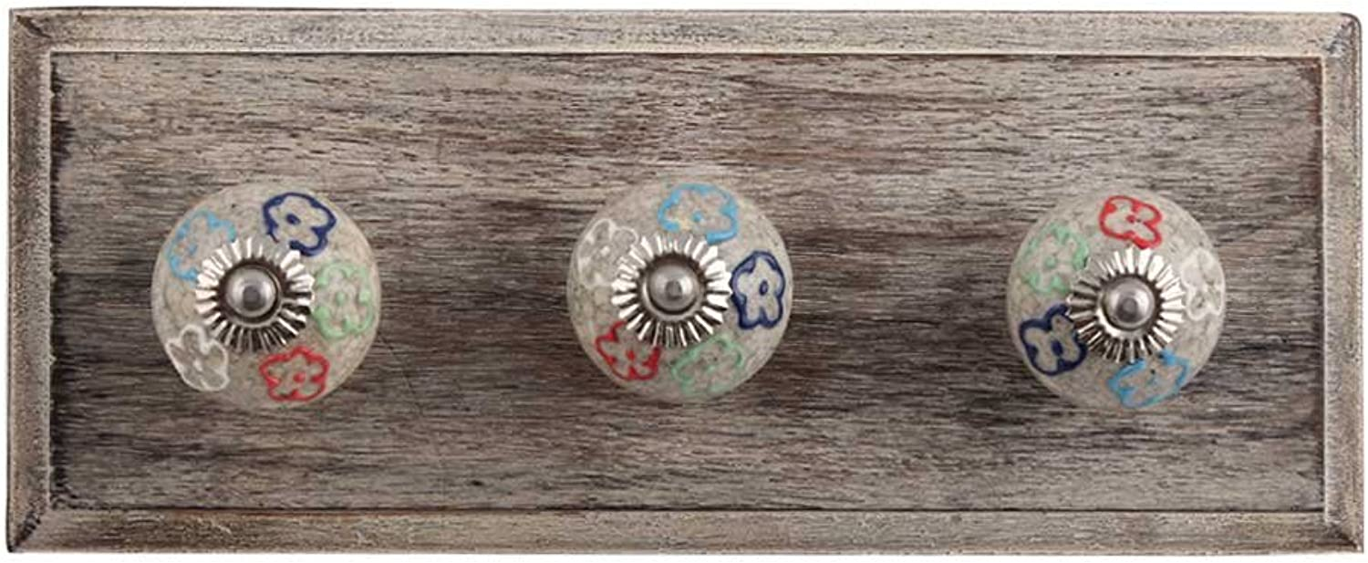 IndianShelf Handmade 3 Piece Wooden Multi colord Floral Crackle Ceramic Wooden Antique Look Wall Hanging Key Hooks Cloth Coats Hangers Key Holders