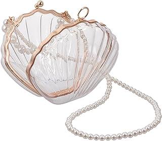 Amosfun Shell Crossbody Tasche Perlenkette Schultertaschen Geldbeutel Taschen für Damen Transparent