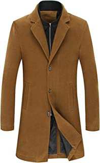 Men's Trench Wool Coat Thick Jacket, Single Breasted Pea Long Slim Warm Daily Retro Business Outwear Plus Size,Khaki,6XL
