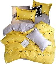 LuDan 3 Pieces Yellow Grey Eyelash Star Bedding Duvet Cover Sets King Super Soft Microfiber,Reversible Cartoon Duvet Cover Set with Zipper Closure (Yellow, King)