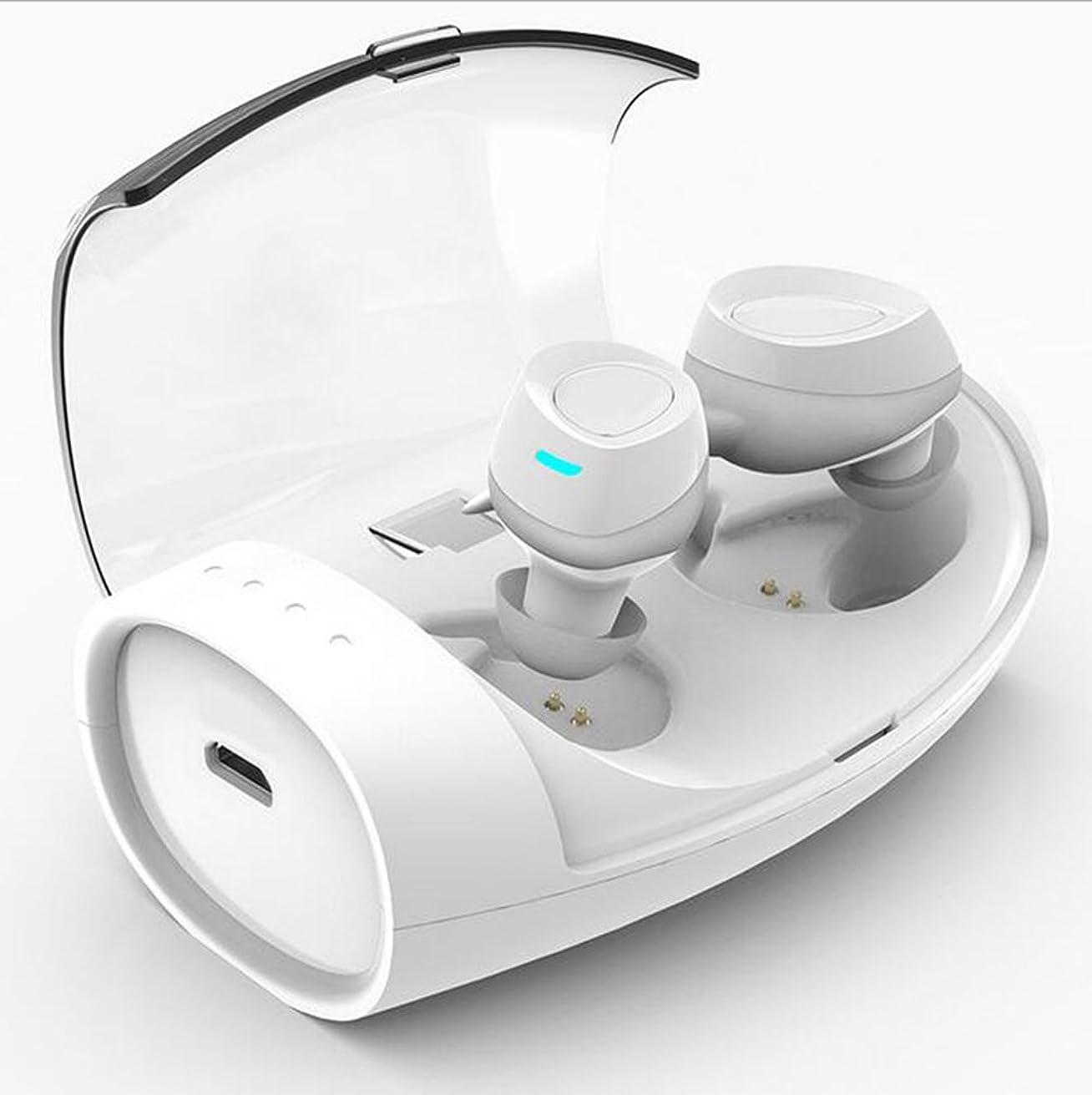ファンブル先のことを考える野な耳のイヤホンでのワイヤレスbluetoothノイズリダクションヘッドホン充電可能(充電スタンド* 1、イヤーフック* 3ペア、イヤーマフ* 3ペア、充電ライン* 1),White