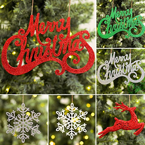 Valery Madelyn 16ct 10-23cm Red Green Silver White Sparkling Essential Christmas Ornaments Set -Merry Christmas, Snowflake and Reindeer,10 Pcs Metal Hooks and 12 Organza Ribbons Included