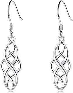 EVERU Celtic Knot Earrings Sterling Silver Irish Dangle Drop Earring Jewelry for Women