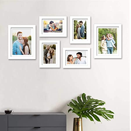 Art Street Individual Wall Photo Frames Wall Hanging (White, Mix Size, 4 Units 6X8, 2 Units 8X10 inch) Hanging Accessories Included - Set of 6