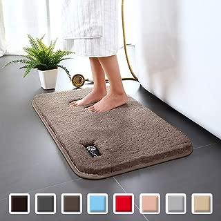 Carvapet Non-Slip Bathroom Rug High Water Absorbent Bath Mat Microfiber Soft Plush Shaggy Mat, 20 by 32 inches, Light Coffee