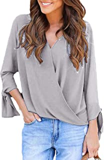 YOINS Women Tops Button Down Shirts Blouse Long Sleeves Grid Pattern Loose Casual Basic Knits Tees Top