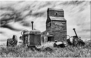 YOLIYANA Industrial Decor Durable Door Mat,Old 60s Abandoned Tractor in The Farm in Central Canada Nostalgic Machinery Elements Image for Home Office,15.7