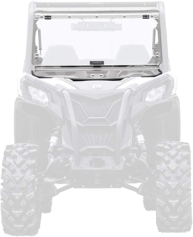 SuperATV Scratch Resistant 3-1 Flip Windshield for 2019+ Can-Am Maverick Sport 1000 / DPS / 1000R XRC (see fitment) | USA Made | 250 Times Stronger Than Glass | Set to Open, Vented, or Fully Closed!