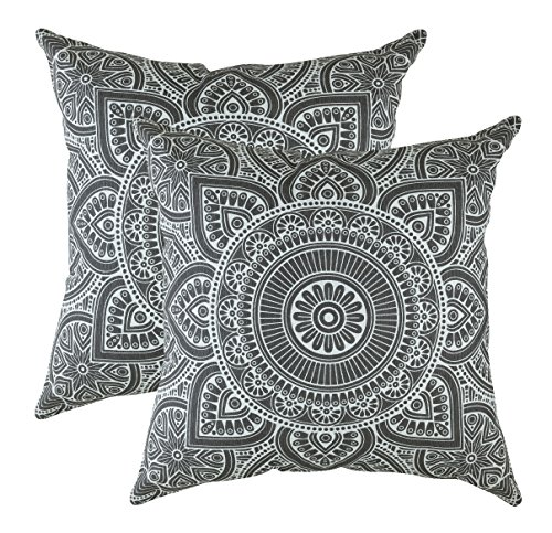 TreeWool, (2 Pack Cushion Covers Mandala Accent in Cotton Canvas (50 x 50 cm / 20 x 20 Inches, Graphite)