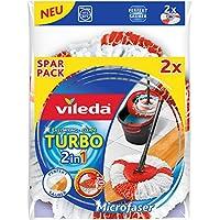 Vileda Turbo EasyWring & Clean - Cabezal de repuesto 2 en 1, rojo/blanco, Doppelpack (2in1)
