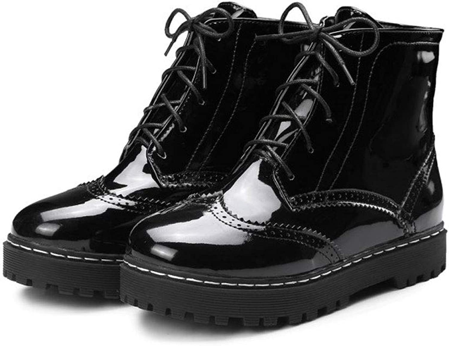 Lace Ankle Boots, Flat Round Martin Boots Waterproof Platform Short Boots Non-Slip Low Boots Women's Hollow Casual shoes