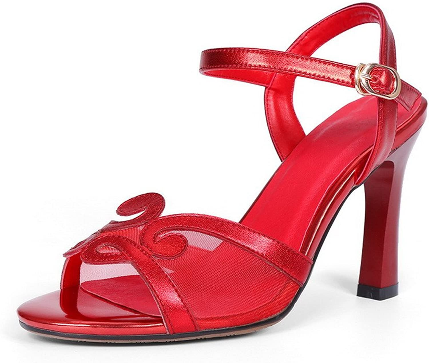 AllhqFashion Women's Solid Cow Leather High-Heels Peep Toe Buckle Sandals