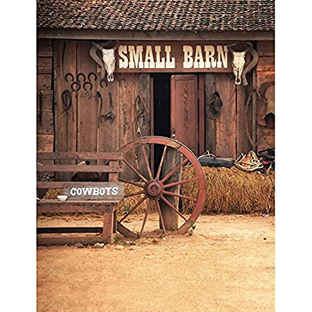 Wofawofa Vinyl Wild West Old Small Barn Backdrop 9X6FT West Cowboy Backdrops Straw Haystack Farm Tools Ancient Bicycles Horseshoe Autumn Photography Background for Men Party Photo Studio Props BL16