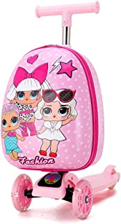 Kid's Scooter Suitcase, Kid's Luggage Scooter, Rolling Luggage Duffle Bag, Trolley Case with Scooter for Children Travel S...