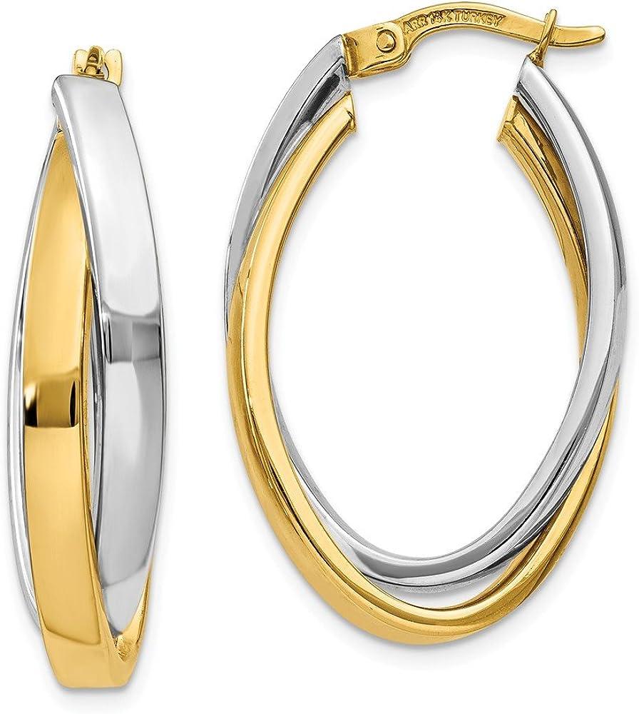 Solid 14k Gold Two-tone Oval Hoop Earrings (7mm x 14mm)