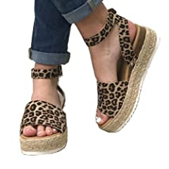 f1acdb7eb1bf Ymost Womens Espadrilles Wedge Sandals Open Toe Halter Ankle .