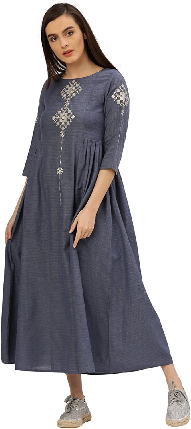Desi Fusion Women Casual Tunic Long Maxi Embroidered Handloom Dress (bluee)