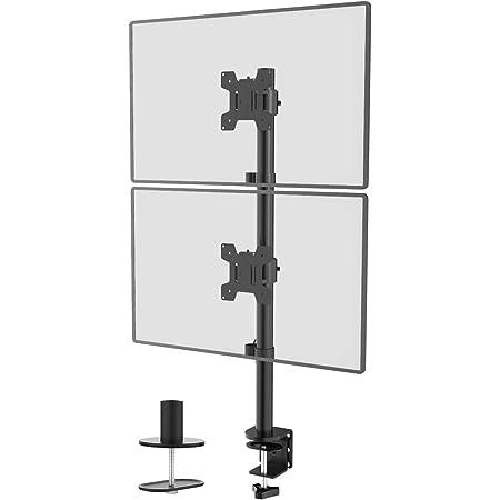 Wali Dual Monitor Tischhalterung Ständer Für Lcd Led Flachbildfernseher Hält In Vertikaler Position 2 Bildschirme Bis Zu 27 Zoll Mit Optionaler Tülle Basis M002xls Schwarz Beleuchtung