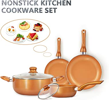 FRUITEAM 6-piece Nonstick Kitchen Cookware Set, Ceramic Coating Cooking Pot and Pans Set, Stock Pot/Milk Pot/Frying Pans Set, Copper Aluminum Pan with Lid, Induction/Gas Kitchenware Set