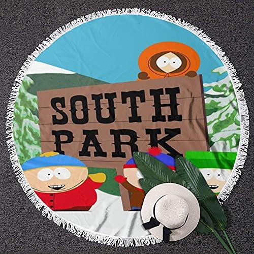 Toalla de playa South Parkround 59 en toalla de playa redonda con flecos, manta de playa para adultos y niños, portátil y ligero a prueba de arena redonda Yoga Mat