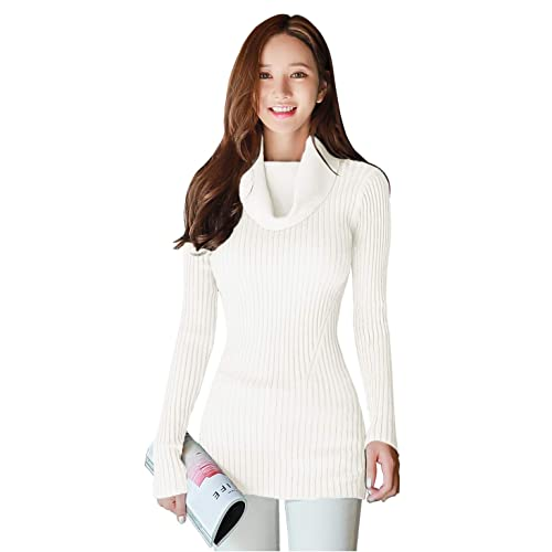c37a6b93a0 v28 Women Stretchable Cowl Neck Knit Long Sleeve Slim Fit Bodycon Sweater
