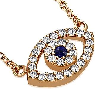 925 Sterling Silver Evil Eye White Blue CZ Pendant Necklace