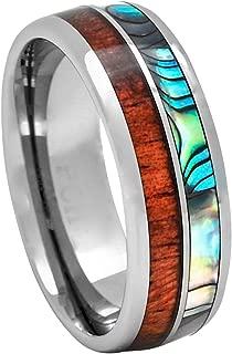 Tungsten Hawaiian Koa Wood and Abalone Inlay Wedding Ring or Gift Size 6-15