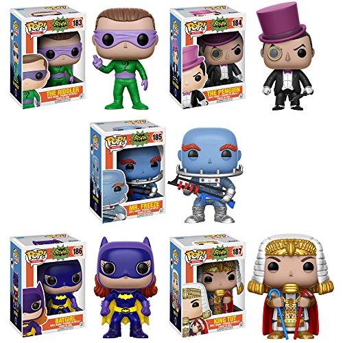 Pop! Heroes: Batman Classic TV The Riddler, The Penguin, Mr Freeze, Batgirl, King Tut Vinyl Figures Set of 5