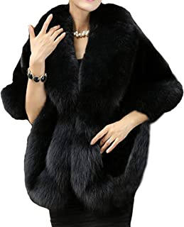 Helan Women's Soft Long Faux Fox Fur Shawl