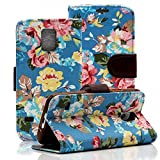 S5 Case, Galaxy S5 Case, Dteck(TM) Deluxe Elegant Flower Book Style PU Leather Flip Stand Magnetic Cover [Credit Card Slots] Wallet Case Stand Cover for Samsung Galaxy S5 i9600 (03 Blue Floral)
