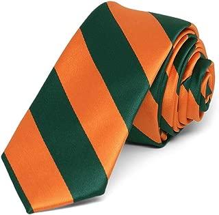TieMart Hunter Green and Orange Striped Skinny Tie, 2