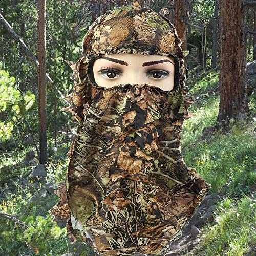 3A Technology Co Camouflage Face Mask 3D Leaf Stereo Hunting Mask Hat Tactical Airsoft Military Woodland Full Face Mask Ghillie Suits