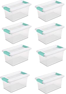 STERILITE Medium Clip Box Clear Storage Tote Container with Lid (8 Pack)