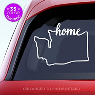 Washington State 'Home' Decal - WA Home Car Vinyl Sticker - Add a heart over Seattle, Olympia, Tacoma or Yakima - Made with outdoor vinyl